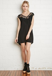 Forever 21 Crocheted Floral Embroidery Dress Black
