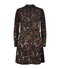 Allsaints Nevada Floral Silk Dress Female Black