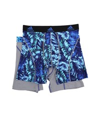 Adidas Sport Performance Climalite Graphic 2 Pack Boxer Brief Jungle Bold Blue Grey Grey Bold Blue Men's Underwear