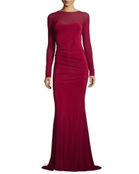 Donna Karan Long Sleeve Fitted Evening Gown Ruby