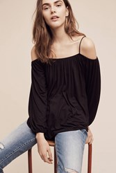 Anthropologie Taven Open Shoulder Top Black