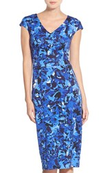 Maggy London Petite Women's Floral Print Scuba Midi Dress Navy Sky Blue