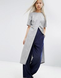 Asos White Longline Top With Split Front Grey