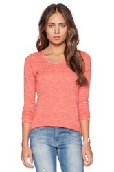 Saint Grace Long Sleeve Scoop Neck Tee Coral