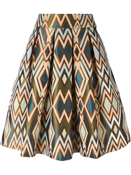 Erika Cavallini Semi Couture Geometric Pattern Pleated Skirt