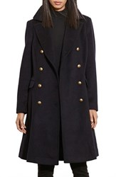 Lauren Ralph Lauren Women's Skirted Wool Blend Military Coat Regal Navy