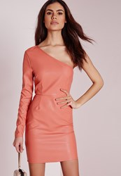 Missguided Faux Leather One Shoulder Bodycon Dress Salmon