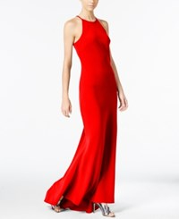 Calvin Klein Crepe Sleeveless Halter Gown Medium Red