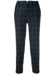 Alberto Biani Cropped Plaid Trousers Blue