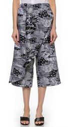 Thakoon Cross Front Cropped Pants Black White