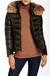 Dawn Levy Genuine Coyote Fur Trim Quilted Down Jacket Green