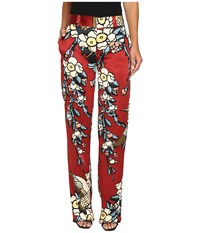 Dsquared Fantasy Printed Silk Cherry Blossom Silk Mariacarla Pants Bordeaux Women's Casual Pants Burgundy