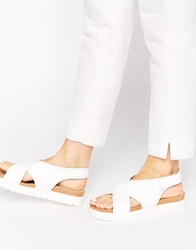 Glamorous White Cross Front Flat Sandals