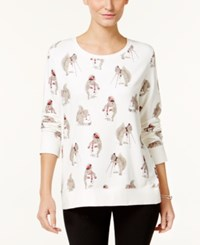 Styleandco. Style Co. Petite Squirrel Print Sweatshirt Only At Macy's Winter White