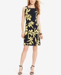 American Living Floral Print Jersey Dress Navy Yellow