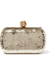 Alexander Mcqueen Skull Sequined Satin Box Clutch Gold