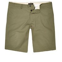 River Island Mens Green Slim Fit Chino Shorts