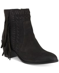 Mia Elina Fringe Ankle Booties Women's Shoes Brown