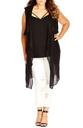 Plus Size Women's City Chic 'Layered Chic' Long Vest With Overlay
