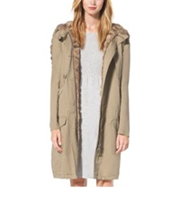 Michael Kors Sable Lined Cotton And Linen Anorak Cape Sand