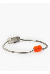 Lanvin Mens Orange Rhodium Bolt Bracelet