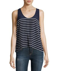 Joie Angola Striped Silk Tank Top Navy