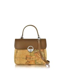 Alviero Martini Miss Geo Small Canvas And Leather Suoulder Bag Brown