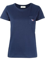 Maison Kitsune Tricolour Fox Patch T Shirt Blue