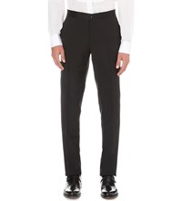 Canali Silk Trims Wool And Mohair Blend Trousers Black