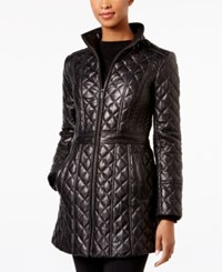 Jones New York Quilted Leather Jacket Black