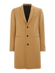Paul Smith Men's Ps By Long Line Wool Cashmere Mix Coat Camel