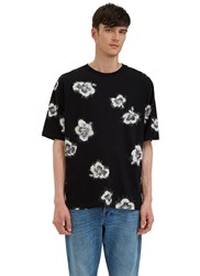 Saint Laurent Glittery Hibiscus Print T Shirt Black