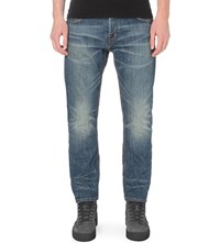 Allsaints Hobbard Regular Fit Tapered Jeans Mid Indigo Blu