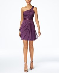 Adrianna Papell One Shoulder Tiered Chiffon Dress Currant