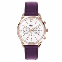 Henry London Unisex Hampstead Chronograph Leather Strap Watch White Rose Gold Pink