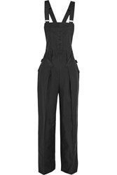 Alexander Wang Woven Cotton Blend Overalls Black
