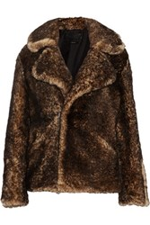 Tom Ford Leather Trimmed Shearling Coat Brown