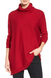 Eileen Fisher Women's Asymmetrical Merino Wool Jersey Turtleneck China Red