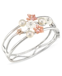 Macy's Sterling Silver Bracelet Pink And White Mother Of Pearl Flower Bracelet