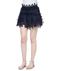 Chloe Peacock Embroidered Lace Mini Skirt Deep Navy