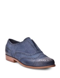 Splendid Tobey Wingtip Toe Metallic Suede Oxfords Navy Blue