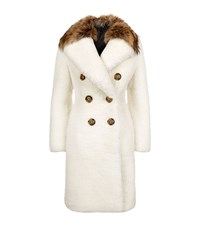 Burberry London Double Breasted Shearling Fur Collar Coat Female Cream