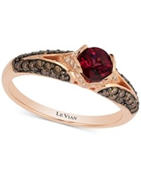 Le Vian Chocolatier Raspberry Rhodolite Garnet 1 2 Ct. T.W. And Diamond 3 8 Ct. T.W. Ring In 14K Rose Gold