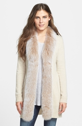 Sofia Cashmere Genuine Fox Fur Trim Cashmere Cardigan Oatmeal