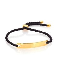 Monica Vinader Havana Hammered 18K Yellow Gold Vermeil And Black Nylon Friendship Bracelet