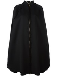 Salvatore Ferragamo Jagged Trim Cape Coat Black