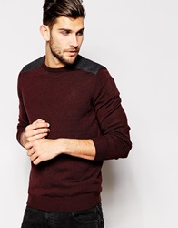New Look Crew Neck Jumper With Shoulder Patch Burgundy