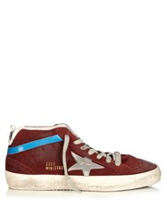 Golden Goose Midstar Suede Trainers Burgundy