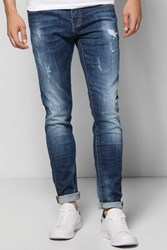 Boohoo Fit Washed Destroyed Jeans Blue