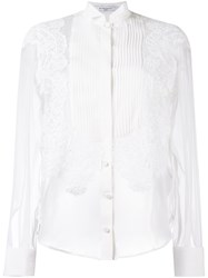 Givenchy Pleated Front Sheer Shirt White